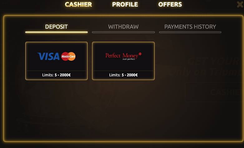 triumph casino payments